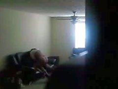 Chubby ebony teen fucks on hidden cam