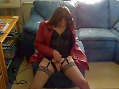 Red leather coat tranny