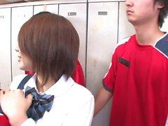 Shy schoolgirl gets gang banged ain the locker room