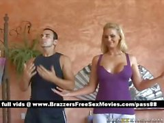 Gorgeous blonde girl does yoga
