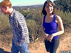 Dana DeArmond gets her natural tits sucked outdoors