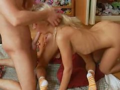 Two russian blondes bum threesome hard