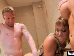 Hot babes share his big boner