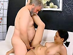 Astounding young sweetie deepthroats old excited dude