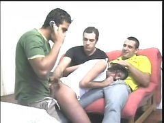 Sweet college girl with pigtails gets used and abused by three studs