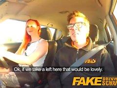Fake Driving School Tatuato redhead craves istruttori grosso cazzo e sperma