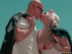 Good looking blonde Sarah Vandella with big tits and