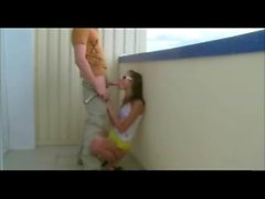 Amateur Brunette chick fucked in the balcony