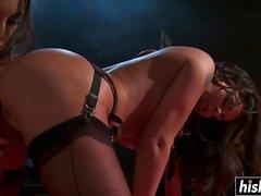 Hot sluts in stockings pleasure each other