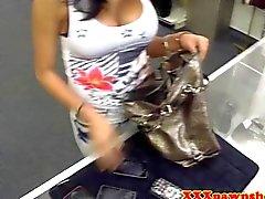 Amateur pawnshop babe sucks it for money