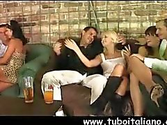 Four pairs of horny partners mix it up between them in this group sex scene
