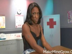 Hot Booty nurse slut suckles a black johnson