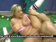 Busty naked blonde slut on a tennis court gets her pussy fucked hard