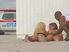 Our Beach Teasing Wives Heather & Jennifer Make A Voyeur Video!