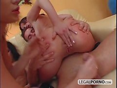 A guy with big dick and three chicks fucking hard TS-10-03