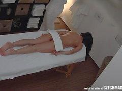 Brunette Sexy Babe Secretly Fucks on Massage Table