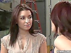 Hot lesbians couple Avy Scott and Celeste Star having some