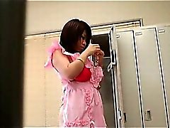Teen Asian slut strips maid costume and flashes huge breasts
