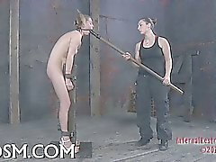 Lusty caning for tough adorable babe
