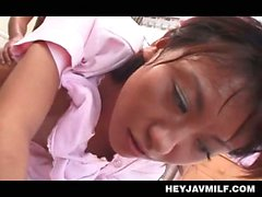 Horny Asian patient hardcore banging his stockinged nurse