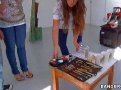 Funny body painting with pornstar Sara Jay