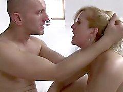 Mature Blonde Stepmom Ass Spanking Her Stepson