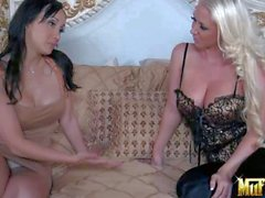 Blonde Molly Cavalli gets her tits eaten by Katsuni