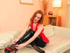 fluent black pantyhose and redhead strip