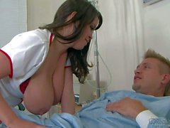 Brandy Talore's tits are too big, Brown haired horny nurse