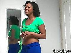 black college girl flashes her tits
