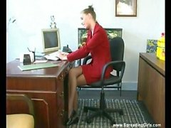 Office Girl Finger Pussy And Dildo Fuck