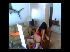 Loud Screaming Asian Wife Fucked on a Chair