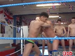 Handsome young men testing their brawn in the ring