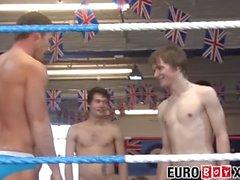 Handsome jeunes hommes tester leurs muscles dans le ring