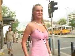Blonde flashing on the street, shot version