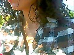 Brunette girl flash tits in car
