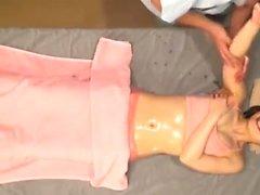 Model massage amateur fingering babe during session