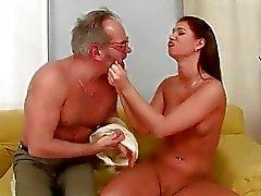 Linda Ray enjoys hot sex with horny grandpa