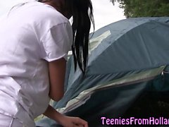 Dutch teen jizzed camping