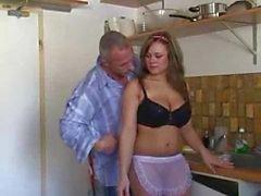 German Pussy Fucking In Kitchen