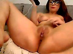 Toy birlikte ateşli Nerdy Web Kamerası Girl Orgazm