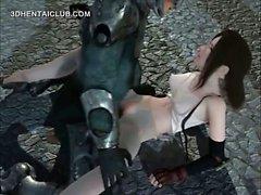 Anime girl convirtiendo en esclava sexual y culo monstruos