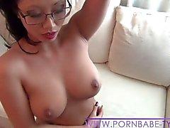 Asian PornbabeTyra having fun with big dildo