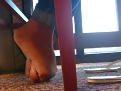 A Friend's Candid Ebony Barefeet in Library