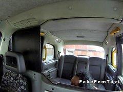 Lesbian female cab driver licks ebony babe