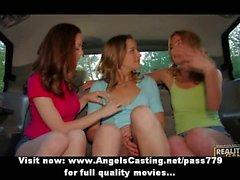 Lesbian babes flashing tits in a car