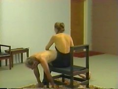 Retro private whipping & caning session with blonde mistress