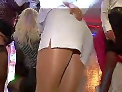 Pantyhose upskirt in club