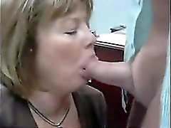 Milf that is blonde provides caring blowjob to some large
