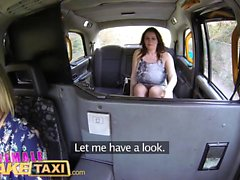Female Fake Taxi Horny tarts use cucumber to stretch